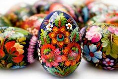 Pisanki. Beautiful Polish traditional painted easter eggs.