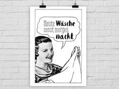 Originaldruck - Kunstdruck Memo: HEUTE WÄSCHE - ein Designerstück von PrintsEisenherz bei DaWanda