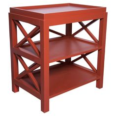 "Red hot - or is it coral ?  Darling each side of bed with lamps, stack books, clean basket. "" Pop a culla """
