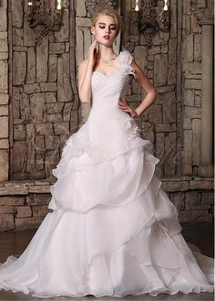 Buy discount Marvelous Organza One Shoulder Neckline A-line Wedding Dresses with Handmade Flowers US 4 at Dressilyme.com
