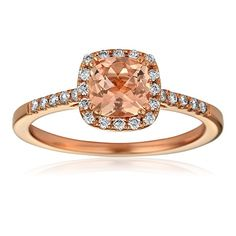 Morganite center stone,  rose gold and diamonds