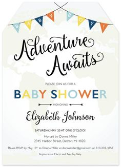baby shower invitations - Adventure Awaits by Basil Design Studio