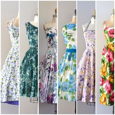 O want a floral dress and I might use the lace on the sholders    Vintage floral dresses at Dear Golden Vintage
