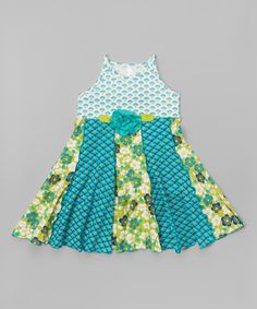 Another great find on #zulily! Blue & Green Floral Panel Dress - Girls #zulilyfinds