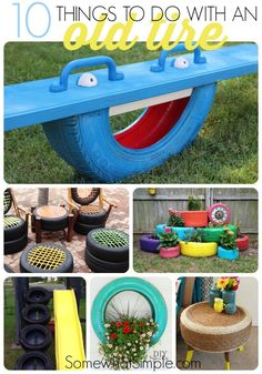 Tire Recycling - 10 Amazing DIY Tire Projects Old tires can be a nightmare to recycle, but have no fear! Here are 10 tire recycling ideas that will give your old tires new life and make them look amazing! Tyre Ideas For Kids, Fun Ideas, Tires Ideas, Creative Ideas, Kids Crafts, Small Patio Ideas On A Budget, Tire Craft, Reuse Old Tires, Recycled Tires