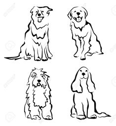 dogs set of silhouettes in simple black lines Stock Vector