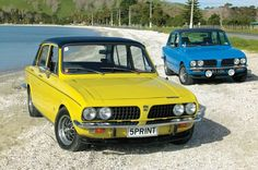 Triumph Dolomite Sprint - used to have one same colour, 4 cylinders, 16 valves, twin SU carbs, overdrive in and to and on to Not bad for the early A wolf in sheep's clothing Triumph Motor, Triumph Car, Classic Motors, Classic Cars, Coventry, 70s Cars, Yellow Car, British Sports Cars, Car Pictures