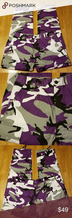 """PURPLE CAMMO TACTICAL FATIGUE CARGO PANTS UNISEX Purple, Gray,  White &  Black In This Cammo Pant. Adjustable Waist & Ankles For Long or Shorter Length 100% Cotton Waist Measures 31""""  to. 35"""" Inseam  Measures 29 1/2 to 32 1/2 Considered A Medium Regular On Tags. Deep Cargo Pockets   This a NWOT Item Is Brand New & Has Never Been Worn   Be Sure To Check Out The Rest of My Listings For Additional Sports Related Items ! Jeans"""