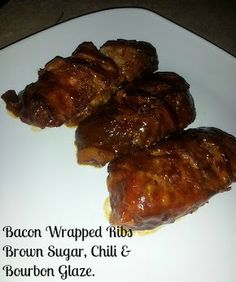 Bacon Wrapped Ribs With a Brown Sugar, Chili and Bourbon Glaze