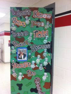 Red Ribbon week door decoration.  Army inspired!