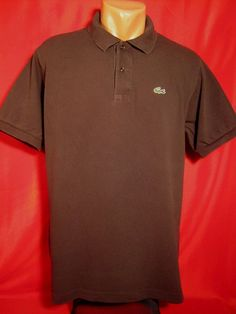 Authentic Lacoste Men's Polo Shirt Brown Size: 5 (L-XL) Short Sleeves #Lacoste #PoloRugby