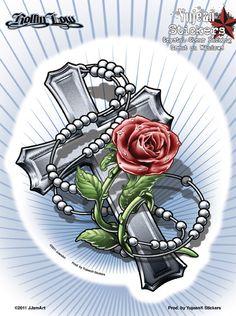 Latest Rose Cross And Rosary Tattoo Designs Más Rose Tattoos, Body Art Tattoos, Tattoo Drawings, Hand Tattoos, Foot Tatoos, Garter Tattoos, Key Tattoos, Skull Tattoos, Rosen Tattoo Mann