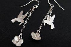 Sterling Silver Hummingbird Earrings by OffbeatMelody Bird Earrings, Unique Earrings, Drop Earrings, Bird Jewelry, Jewelry Gifts, Sterling Silver Chains, Sterling Silver Earrings, Flower Silhouette, Tiny Bird