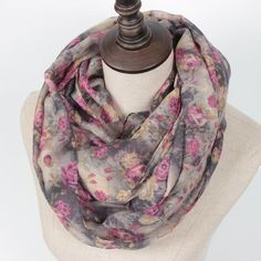 Save and get Free Shipping with ZillyChic on this Rose Print Infinity Scarf.  Perfect and lightweight for every occasion.  The lightweight shawl with floral design is the new trending fashion statement of the fall and winter season. #winterscarf #lightscarf #shawl #scarves