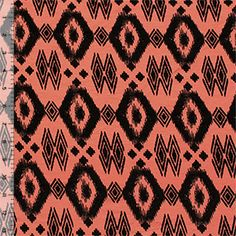 Coral Black Ethnic Diamond Cotton Spandex Blend Knit Fabric