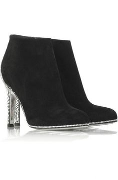 Black rhinestone heel booties
