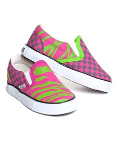 Look at this #zulilyfind! XOLO Shoes Pink & Green Zebra Slip-On Sneaker by XOLO Shoes #zulilyfinds