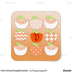 Cute Custom Pumpkin Initial Seal For Giftbags - Square Sticker