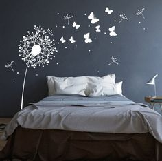 Rauhfaser suitable Breathe life into their walls … with this wall sticker Dandelion butterflies and dots they enchant entire rooms … * Wall decal Dandelion with sweet … Source by Simple Wall Paintings, Wall Painting Decor, Bedroom Colors, Bedroom Decor, Parents Room, Wall Decals For Bedroom, Wall Tattoo, Room Paint, Wall Design