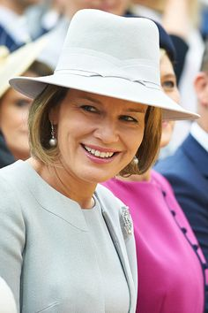 Queen Mathilde of Belgium visits Wolfgang Goethe college as part of official Royal visit in Poland on October 14, 2015 in Warsaw, Poland.