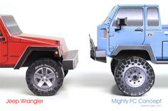 Jeep 4-dr Wrangler and Mighty FC paper models  | http://papercruiser.com