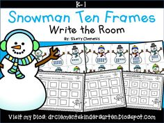 Snowman Write the Room (Ten Frames) Get your students up and moving while they write the number to match the ten frames 0-20  - kindergarten and first grade $