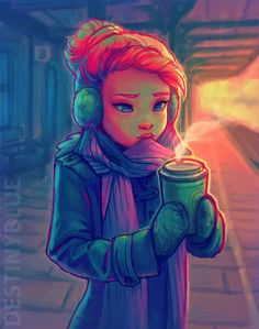 Impatience - Digital paint by Destiny Blue. It's about a girl enjoying a warm cup of coffee amidst a cold winter night.