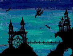Castle Dragon Modern Fantasy Cross Stitch Chart