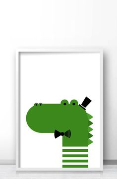 Crocodile printable kids wall art, Animal nursery art print, Crocodile illustration by Limitation Free