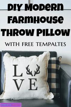 How to Make a Stencil with Cricut - DOMESTIC HEIGHTS : diy modern farmhouse stencil throw pillow, cricut home decor project, beginners cricut project, free farmhouse svg Home Decor Online, Easy Home Decor, Handmade Home Decor, Cheap Home Decor, Diy Pillows, Throw Pillows, Pillow Crafts, Make Your Own Stencils, Diy Home Crafts