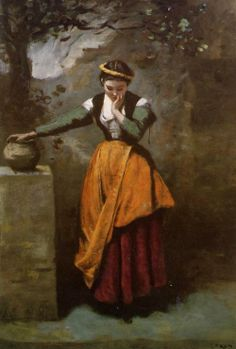 layering OG style 1870'ish Camille Corot, Dreamer at the fountain, 1870