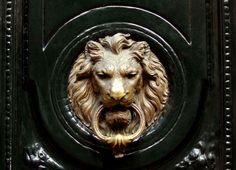 Carlyle Designs: Glossy black front door with brass lion door knocker. Love me a statement door.