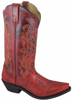 Smoky Mountain Boots Women's Western Snip Toe Cowboy Madison Red *** For more information, visit now : Women's cowboy boots