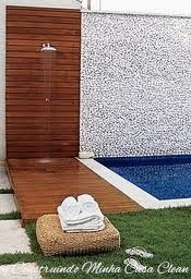 ideas pool patio bar decks for 2019 Outdoor Pool Shower, Outdoor Baths, Outdoor Bathrooms, Backyard Pool Designs, Pool Landscaping, Moderne Pools, Garden Shower, Small Pools, My Pool
