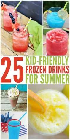 25 Kid-Friendly Frozen Drinks for Summer Cold sugary drinks just make summer feel more like summer! Here are 25 Kid-Friendly Frozen Drink Recipes. They are our favorite afternoon treat after a swim. Summer Drinks Kids, Frozen Summer Drinks, Frozen Drink Recipes, Kid Drinks, Summer Snacks, Summer Treats, Party Drinks, Summer Kids, Summer Recipes