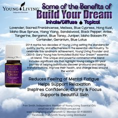Young Living Build your Dream Essential Oil.  If you are interested in purchasing or obtaining more information about Build Your Dream or any of the other Young Living Essential Oils, feel free to contact me:   Fran Smith, Independent Member of Young Living Essential Oils www.youngliving.org/fransmith12  Member ID #1860693 Facebook:  Fran Smith Young Living Distributor