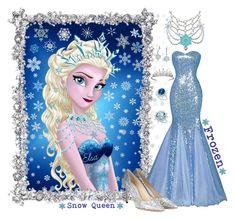 """Disney Inspired Frozen Elsa Evening Wear"" by shannon-brennan ❤ liked on Polyvore featuring Frontgate, 1928, Marina J., Deborah Lippmann, Bling Jewelry, Swarovski, Jimmy Choo, Disney and Van Cleef & Arpels"