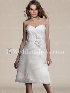 Organza Summer Strapless Short A-line Wedding Gown BC696- Could be gorgeous if we removed the flower and added a blingy belt!