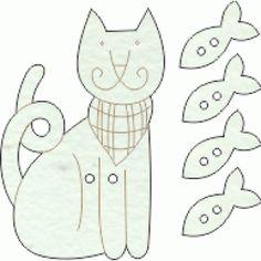 Lovely de mdf pintado a mão Gato com 4 Peixinhos cor 01