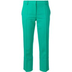 Emilio Pucci textured Capri trousers (4.305 BRL) ❤ liked on Polyvore featuring pants, capris, green, green pants, slim cropped pants, slim fit pants, cropped pants and green capri pants