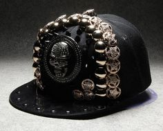 cool design hiphop punk style trendsetter snapback cap retro bling skull peaked cap with fashion charms decoration by littledandeliondream on Etsy
