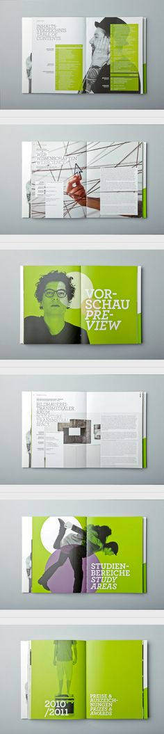 UNI:VERSE 2011 by Letitia Lehner, via Behance The green is attention grabbing and the photographs as well