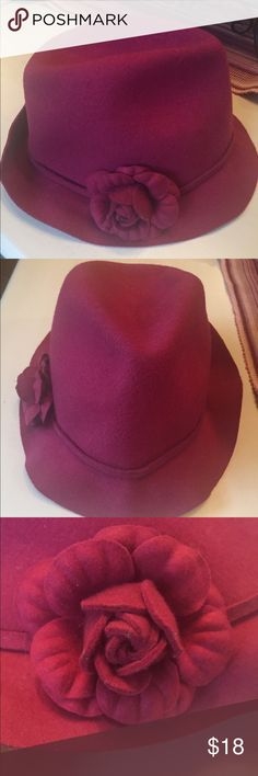 Beautiful Lane Bryant Wool Fedora Beautiful Lane Bryant fedora in pretty fuchsia color. Has a beautiful flower detail on the right side. 100% Wool. This hat has never been worn. Does have a black mark on the inside of the hat, but is not visible to anyone. Also has a black mark on the tag. (See photo #4). Reasonable offers are always welcome! Lane Bryant Accessories Hats