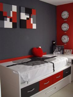 Living Room Red And Black Designs Red Bedroom Design, Boys Bedroom Paint, Bedroom Wall Designs, Bedroom Red, Small Room Bedroom, Bedroom Colors, Living Room Designs, Bedroom Ideas, Red Room Decor