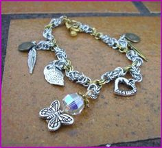 Silver and Gold Chainmaille Charm Bracelet by MerrynLeesCrafts, $25.00