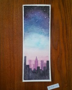 Painting Sky Stars Night 64 Trendy Ideas - All About Gardens Watercolor City, Watercolor Paintings, Watercolour Pencil Art, Watercolor Night Sky, Watercolor Ideas, Painting Inspiration, Art Inspo, Watercolor Bookmarks, Galaxy Art
