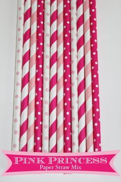 50 Pink Princess  Paper Straw Mix #paper  #Straw #princess #party