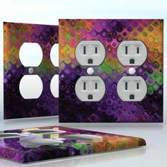 DIY Do It Yourself Home Decor - Easy to apply wall plate wraps | Teardrops of a Peacock  Color me purple  wallplate skin sticker for 2 Gang Wall Socket Duplex Receptacle | On SALE now only $4.95