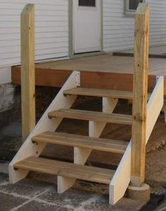 This is how we left the new side door steps in Conquering the Stoop. We needed a way to access the deck that didn't involve any sort of vaulting. I'd heard that steps were a handy way t… treppenaufgang Deck Stair Railing, Porch Stairs, Outdoor Stairs, Wooden Steps Outdoor, Building Stairs, Building Deck Steps, Diy Deck, Decks And Porches, Side Door
