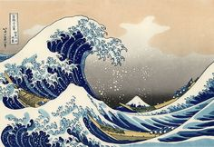 """"""" Katsushika Hokusai (1760-1849) - The great wave off Kanagawa The sea dominates the composition as an extending wave about to break. In the moment captured in this image, the wave forms a circle around the center of the design, framing Mount Fuji in..."""